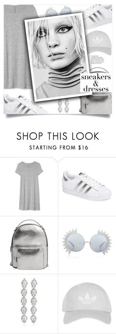 """""""Sporty Chic: Sneakers and Dresses"""" by loloksage ❤ liked on Polyvore featuring Gap, adidas, MANGO, Linda Farrow, Ben-Amun, Topshop and Marc"""