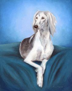 Saluki Dog Portrait by Erica Vojnich
