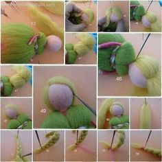 Waldorf doll or fairies (with wings) needle felting with wool roving. Tutorial - extensive photo tutorial for needle felting Felt Angel, Waldorf Crafts, Needle Felting Tutorials, Felt Fairy, Needle Felted Animals, Fairy Dolls, Felt Toys, Wet Felting, Felt Crafts