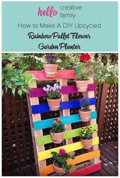 DIY Upcycled Pallet Rainbow Flower Garden - Turn your backyard patio into a colorful oasis with this bright and colorful DIY Upcycled Pallet Rainbow Flower Gard…
