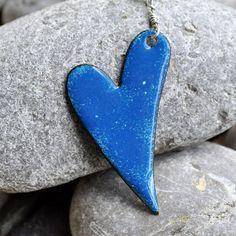 enamel pendant... heart..  love... blue...  by CoolVintage on Etsy