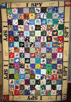 i spy quilt pattern. Cute. Could embroider the edges