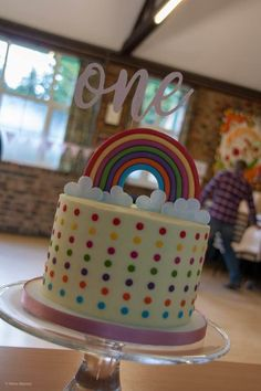 First Birthday Rainbow Cake Celebration Cakes, First Birthdays, Wedding Cakes, Birthday Cake, Rainbow, Desserts, Food, Shower Cakes, Wedding Gown Cakes