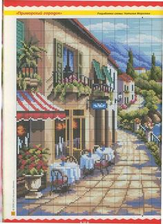 sok-sok Cross Stitch House, Cross Stitch Heart, Simple Cross Stitch, Cross Stitch Flowers, Funny Cross Stitch Patterns, Cross Stitch Designs, Cross Stitching, Cross Stitch Embroidery, Cross Stitch Landscape