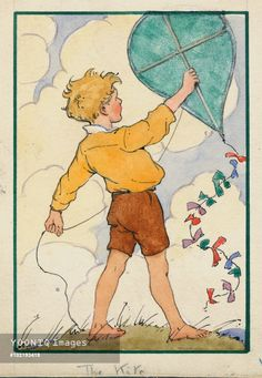A painting by Margaret Tarrant. A kite about to be launched, but hopefully not with the sticks on the upwind side of the kite! Tsk tsk. The design looks a little like the arch-top Diamonds flown in England in pre-Victorian times. And occasionally ever since. T.P. (my-best-kite.com)