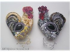 ru/Photo # and beaded Seed Bead Jewelry, Jewelry Art, Beaded Jewelry, Jewellery, Bead Embroidery Tutorial, Beaded Embroidery, Bead Crochet, Crochet Earrings, Chicken Crafts