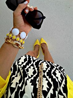 Love the pattern play with a pop of yellow