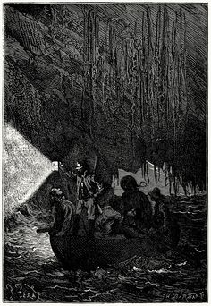 The colonists were in the boat.    Jules Férat, from L'île mystérieuse (The mysterious island), by Jules Verne, Paris, 1870.