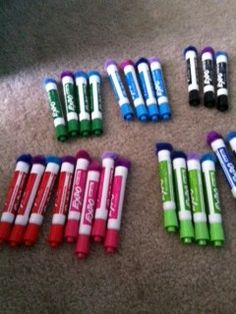 Hot glue a pompom on end of dry erase markers to use as an eraser. Genius.