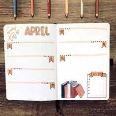 Bookish bullet journal set-up with simple weekly spread ideas April Bullet Journal, Bullet Journal Weekly Layout, Bullet Journal Cover Page, Bullet Journal Hacks, Bullet Journal Lettering Ideas, Bullet Journal Notebook, Bullet Journal School, Bullet Journal Ideas Pages, Bullet Journal Overview