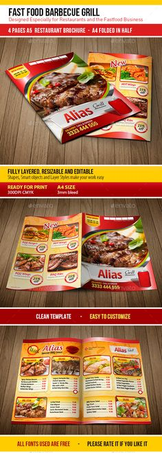 Fast Food Barbecue Grill Template #design Download: http://graphicriver.net/item/fast-food-barbecue-grill/8843726?ref=ksioks