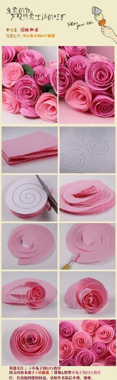 Papierrosen Paper Crafts - The Ultimate Craft Ideas Paper crafts had been very popular for a while n Tissue Paper Flowers, Felt Flowers, Diy Flowers, Fabric Flowers, Crepe Paper Roses, Felt Roses, Flower From Paper, Giant Flowers, Ribbon Flower
