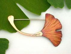 Ginkgo Leaf Pin Copper  Brown Patina 250mc by ginkgo on Etsy, $44.00