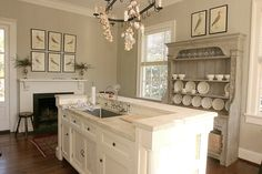 from cote de texas - perfect island, limestone counter & colors!