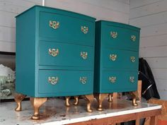SOLD, but please contact me for possible commissions. Vintage bedside drawers, teal & gold with turquoise interiors and verdigris handles by HoneyBadgerFurniture on Etsy