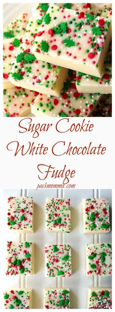 Sugar Cookie White Chocolate Fudge Create Your Own! Sugar Cookie White Chocolate Fudge is an easy, c Christmas Fudge, Christmas Sweets, Christmas Cooking, Christmas Candy, Holiday Baking, Christmas Desserts, Holiday Treats, Christmas No Bake Treats, Holiday Recipes