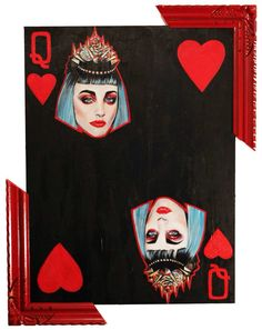 Queen on hearts (2014) Acrylic on wood panel 30x40""
