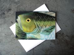 Fish Art Greeting Card  Sea Creature Art Note by PatWarwickTiles, $3.50