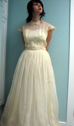 sheer vintage wedding dress