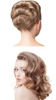 Before and after updo with invisible hair curlers. #updo #hairdo #curlers…