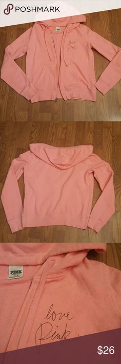 Pink sz M zipup hoodie 'love pink' Pink sz M zipup hoodie 'love pink', lt p8nk cotton poly blend PINK Victoria's Secret Tops Sweatshirts & Hoodies
