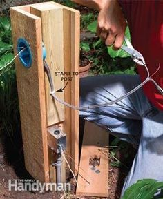 Run an underground electrical line into the garden to power an outdoor light or a pond pump.  Here's the quickest and cheapest method for bringing power to a remote spot without tearing up your yard. Garden Chairs, Ladder, Gardening Tips, Lawn Chairs, Outdoor Chairs, Garden Seating, Staircases, Scale, Garden Stools