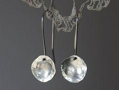 Sterling Silver Earrings Hammered textured disc earrings Eco friendly recycled sterling silver Rustic minimalist boho circle dangle earrings Handmade in Australia - gorgeous :: Hammered disc earrings Recycled sterling by oblissjewellery Metal Jewelry, Jewelry Art, Jewelry Accessories, Jewelry Design, Geek Jewelry, Jewelry Necklaces, Earrings Handmade, Handmade Jewelry, Unique Jewelry