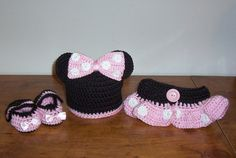 Crochet Minnie Mouse Pink Hat, Diaper, Booties Fits Reborn Doll or 0-3 Month Baby or Photo Prop. $30.00, via Etsy.