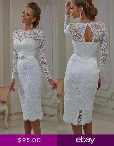Short Wedding Dresses : Vintage Lace Tea Length Short Wedding Dresses 2017 With Long Sleeves Sheath Jewel Neck Casual Reception Bridal Gowns New Real Casual Wedding Gowns, Long Wedding Dresses, Bridal Dresses, Casual Dresses, Dress Wedding, Trendy Wedding, Maternity Wedding, Reception Dresses, Wedding Summer