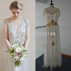 2014 Fashion Jenny Packham Eden V Neck Floor Length with Beads and Embroidery Sheer Back Wedding Dress
