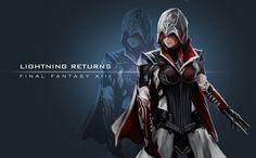 Lightning, personaje del videojuego Final Fantasy XIII y Lightning returns vestida como en la saga Assassins Creed