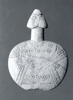 Disc-shaped figure Period: Early Bronze Age III Date: ca. 2300–2000 B.C. Geography: Central Anatolia Medium: Gypsum alabaster