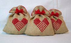 Set of 3 burlap Christmas/Xmas embroidered by RosesSecretGarden
