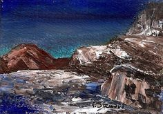 ACEO Rocks Ocean Water Seascape Abstract Art Landscape Texture SFA by Penny StewArt #Abstract