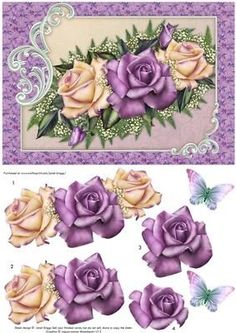 Card topper with step by step decoupage, featuring pretty heritage roses in shades of lilac and lemon. 2 sentiment tags, including one blank. The other reads, Happy Birthday. NOTE A coordinating calendar with decoupage is available. Decoupage Printables, Printable Scrapbook Paper, Scrapbook Cards, Scrapbooking, 3d Paper, Paper Crafts, Heritage Rose, Decoupage Vintage, Decoupage Drawers
