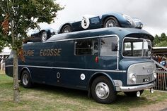 How cool is this vintage race car hauler!!!