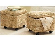 Seagrass Storage Ottoman on Wheels | Shop | Kaboodle