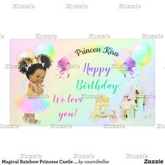 Shop Magical Rainbow Princess Castle Carriage Banner created by nawnibelles. Rainbow Tutu, Love Rainbow, Rainbow Flag, Rainbow Baby, Baby Girl Princess, Little Princess, Unicorn And Fairies, Magical Unicorn, Shower Party