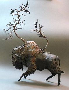 "Canadian artist Ellen Jewett created these incredible fantasy creatures sculpted entirely by hand. ""Each sculpture is handmade and paint. Art Sculpture, Animal Sculptures, Ellen Jewett, 3d Studio, Another Anime, Paperclay, Creature Design, Fantasy Creatures, Clay Art"
