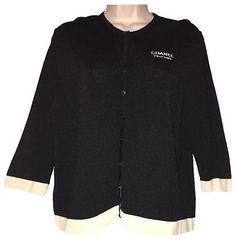 chanel parfums black with off white trim sz ml cardigan sweater staff uniform cao office agoogle moscowa