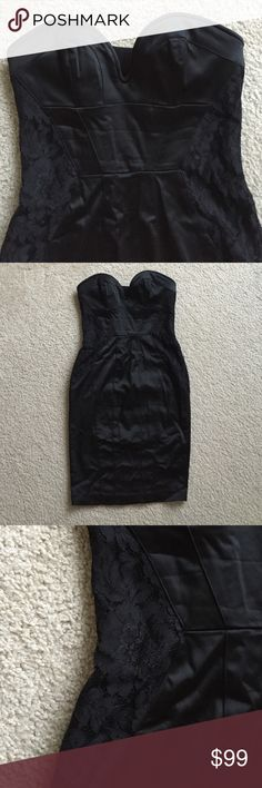 Bebe satin corset style lace waist dress black XS Bebe like new (worn once) no signs of wear black lace satin dress with lace waist and coser style top. Size XS bebe Dresses Mini