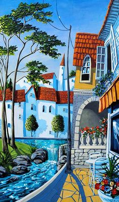 Sea Breeze 44 x 26 Acrylic on Board by Miguel Freitas, available at Crescent Hill Gallery in Mississauga, ON Oil Painting App, Scenery Paintings, Arte Pop, Naive Art, Art Graphique, Whimsical Art, Oeuvre D'art, Landscape Art, Art Tutorials