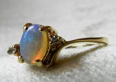 Opal Ring Opal Engagement Ring 14K .50 Ct by LoveAlwaysGalicia