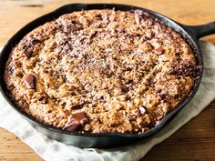 For fans of crisp and chewy chocolate chip cookies, baking the dough in a cast iron skillet is the way to go. The edge turns extra crisp while the middle stays soft and chewy, with a semi-molten core like what you find in the best brownies.