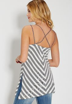striped tank with braided cross back straps | maurices