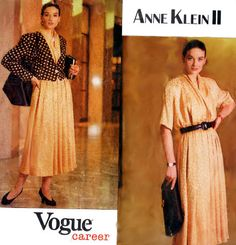 Business Separates: Lined Jacket Wrap Top & by TheGrannySquared Vogue Sewing Patterns, Vintage Sewing Patterns, Pleated Skirt Pattern, Line Jackets, Separates, Anne Klein, Designers, Business, Long Sleeve