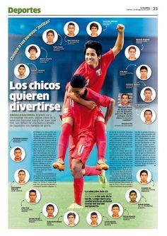 La nueva generación de futbolistas de Perú. #layout #editorialdesign #newspaperdesign