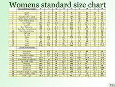 Standard Uk Womens Size Chart Zodomo Com Ayucar Clothing Patterns Sewing