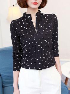 #Fashionmia - #Fashionmia Split Neck  Printed Chiffon Long Sleeve T-Shirt - AdoreWe.com