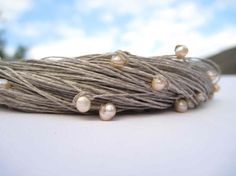 #Pearl #Wedding #Necklace Natural Linen Jewelry... | Wicker Blog  wickerparadise.com